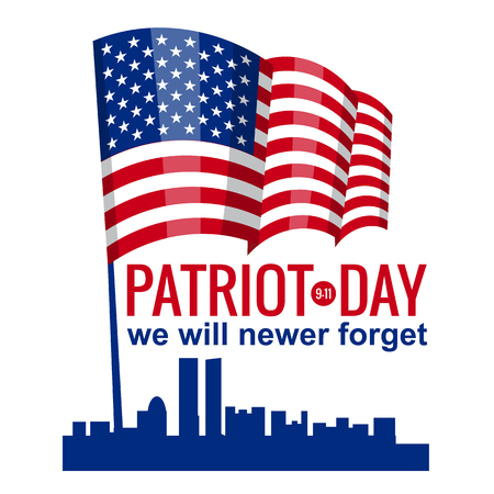 Patriot Day. September 11. We will never forget. Illusztráció