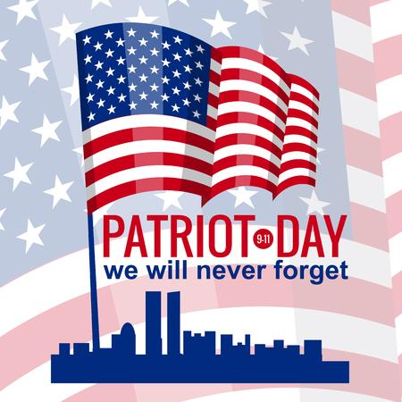 Patriot Day. 11 september. We zullen nooit vergeten, Amerikaanse vlag, vector, geïsoleerd, illustratie. Stock Illustratie