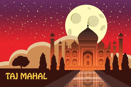 Mausoleum of Taj Mahal in Agra, India Illustration