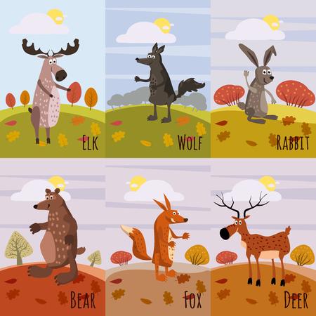 森の動物、ムース、鹿、オオカミ、ウサギ、キツネ、クマ、漫画のスタイル、バナー、ポスター、ベクトル、イラストなどのポスターのセット