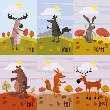 Forest animals set of posters, with elements of forest, moose, deer, wolf, hare, fox, bear, cartoon style, banner, poster, vector, illustration