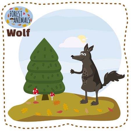 Cute wolf, on a background of a landscape with elements of forest, trees, forest animals, cartoon style, banner, vector, illustration