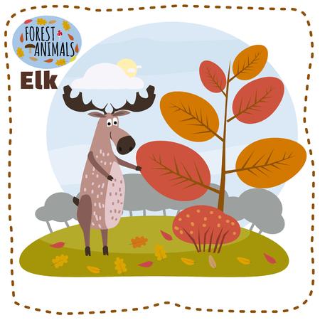 숲, 나무, 숲 동물, 만화 스타일, 배너, 벡터, 일러스트의 요소와 프리의 배경에 귀여운 엘크 스톡 콘텐츠