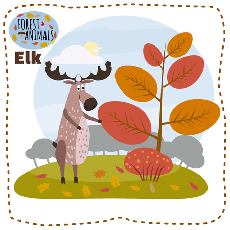 Cute elk, on a background of a landscape with elements of forest, trees, forest animals, cartoon style, banner, vector, illustration Stock Photo