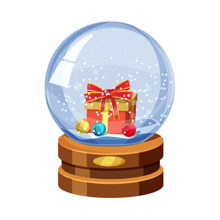 Christmas Snow globe with the falling snow, gift and Christmas balls cartoon vector illustration