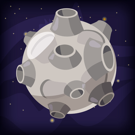 Planet fantastic on a space background, cartoon style, isolated, vector, illustration