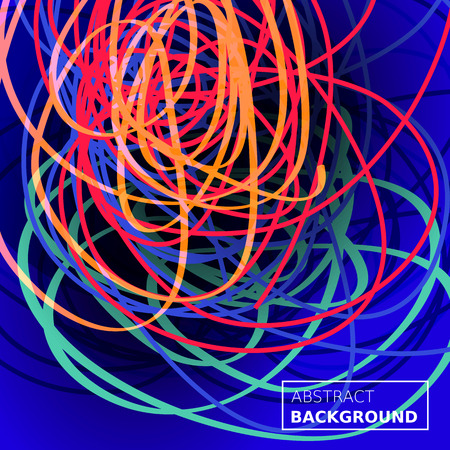 Threads chaos background. Abstract lines composition. Color blue background. Applicable for covers, club poster, placard, title page. Eps10 vector. Stock Photo