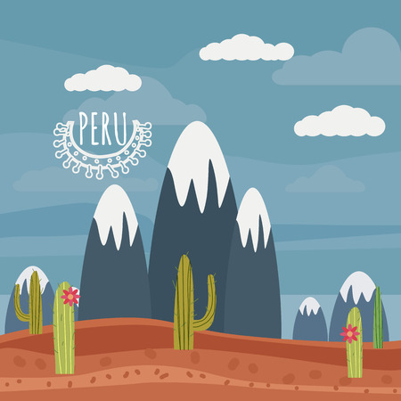 Peru landscape mountains, cactus cartoon style