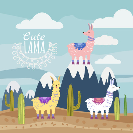 Set of Cute vector lama and cactus, mountain landscape. Vector illustration