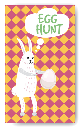 Easter banner background template with beautiful rabbit and egg. Vector illustration.
