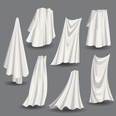 Set of fluttering white cloths, soft lightweight clear material isolated vector illustration