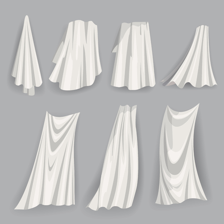 Set of fluttering white cloths, soft lightweight clear material isolated vector illustration Ilustração Vetorial
