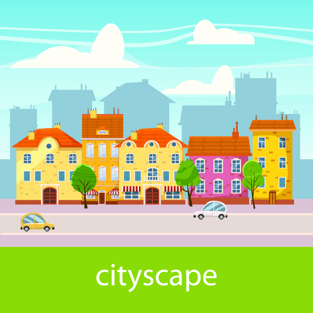 Cute cityscape, beautiful houses, cartoon style isolated vector