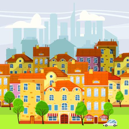 Cute cityscape, beautiful houses, old and modern, cartoon style  isolated  vector  illustration Ilustração