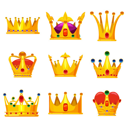 Set royal golden crowns with jewels, vector cartoon icons isolated on white background. Heraldic elements, monarchic symbols