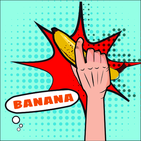 Banana, the hand holds a fruit, pop art style. Vector, illustration, isolated