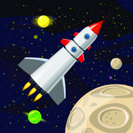 Space rocket launch, spaceship, space background. Cartoon style, Vector illustration.