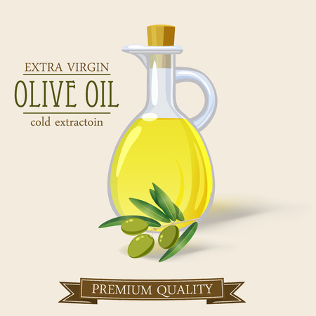 Bottle of olive oil and branch vector cartoon, isolated. Stock Illustratie