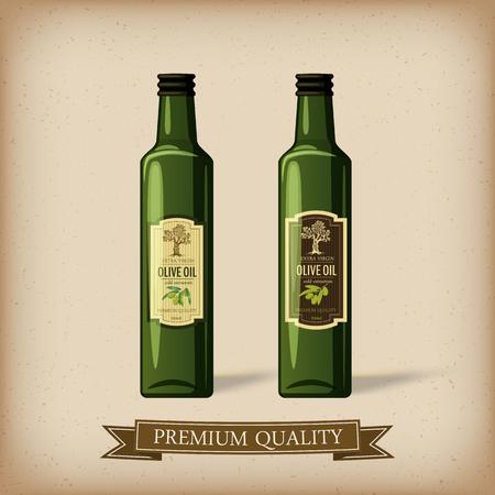 Labels and olive oil bottle, vector