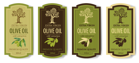 Set elegant labels collection set for premium olive oil, vector, isolated 向量圖像
