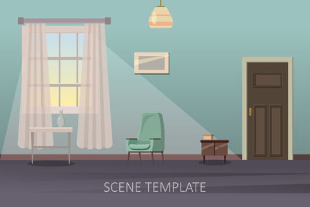 Living room interior with furniture. Vector illustration in cartoon style. Ilustrace