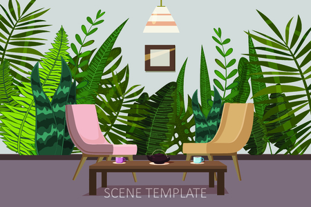 Interior template design of residential or living rooms with armchairs and a tea table on the background of wallpaper with a print of tropical plants and leaves.