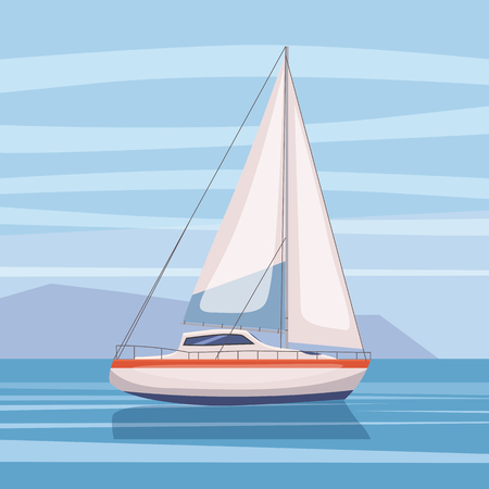 Sailing boat floating on water surface. Landscape Vector color illustration. Isolated Cartoon style Illustration