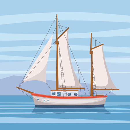 Sailing ship on seascape,isolated vector illustration in cartoon style