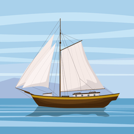 Sailing boat floating on water surface. Vector color illustration. Isolated. Cartoon style