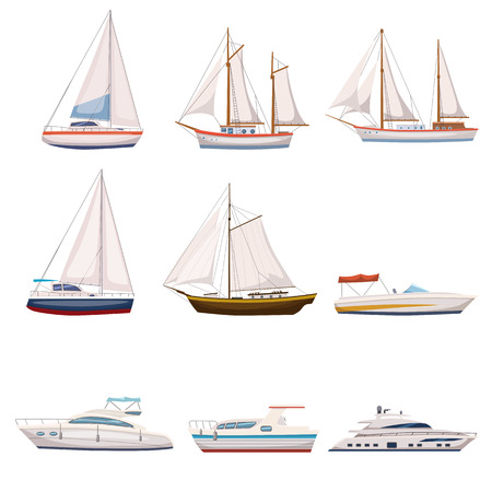 Super set of water carriage and maritime transport in modern cartoon design style. Ship, boat, vessel, warship, cargo ship, cruise ship, yacht, wherry, hovercraft. Isolated Vector illustration. Stock Illustratie