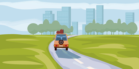 Road way to city buildings on horizon vector illustration, car highway cityscape cartoon style, modern big skyscrapers town far away ahead, perspective landscape and city view, vector