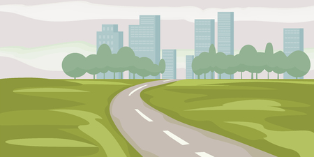 Road way to city buildings on horizon vector illustration, highway cityscape cartoon style, modern big skyscrapers town far away ahead, perspective landscape and city view, vector Ilustração