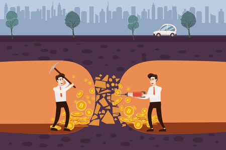 Cryptocurrency concept with businessman miner and coins. Young man with shovel and pickaxe working in bitcoin mine,cartoon style, isolated