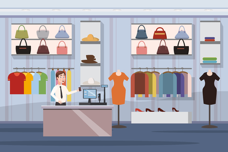 Fashion Shop with women's clothes and bags. Vector Illustration