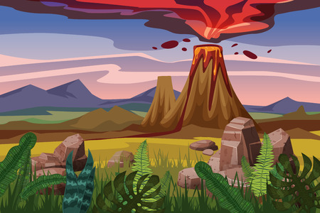 Volcano eruption background landscape