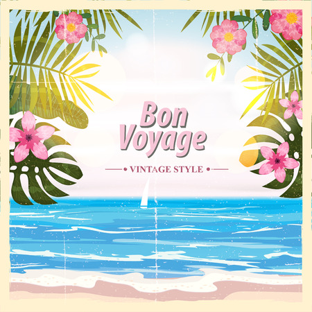 Travel poster concept. Have nice trip - Bon Voyage. Fancy cartoon style. Cute retro vintage tropical flowers. Banner background vector element