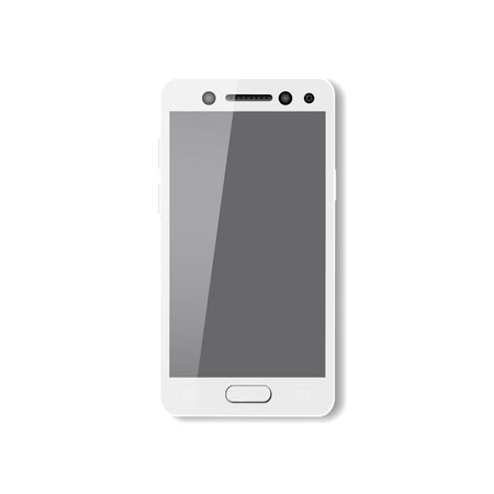 White smartphone with pure screen. Phone mobile vector  illustration isolated
