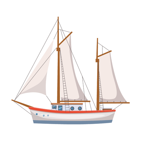 Sailing ship on isolated background Ilustração