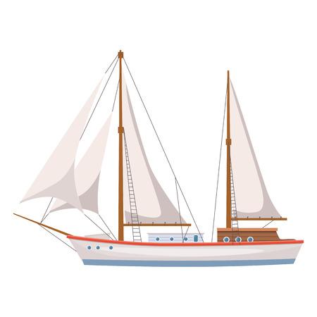 Sailing ship on isolated background Illustration
