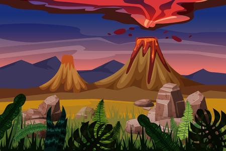 Volcanic eruption, plain background landscape