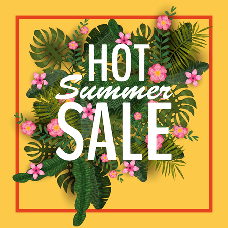 Hot summer sale illustration with tropical plants and flowers design o yellow background