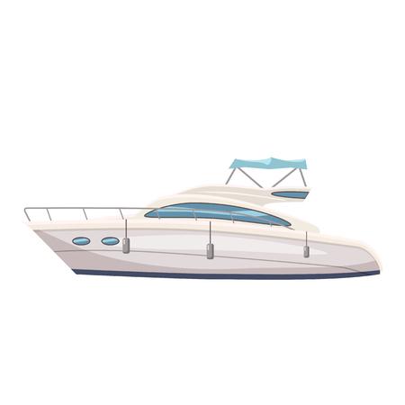 Speed boat, yacht on seascape background, cartoon style, vector illustration, isolated Illustration