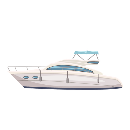 Speed boat, yacht on seascape background, cartoon style, vector illustration, isolated Çizim