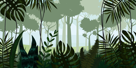 Vector tropical rain forest Jungle landscape background with leaves, fern, isolated, illustrations.