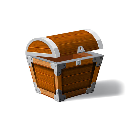Open pirate chest. wooden box. Symbol of wealth riches. Cartoon flat vector design for gaming interface, vector, isolated Çizim