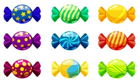 Un set di caramelle dolci in un pacchetto di diversi colori, vettore. Illustrazione di stile del fumetto, isolata Vettoriali
