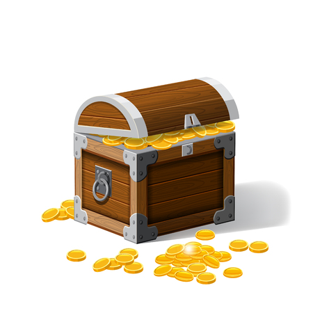 Piratic trunk chests with gold coins treasures. . Vector illustration. Catyoon style, isolated Stock Photo
