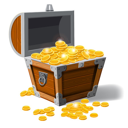 Piratic trunk chests with gold coins treasures. . Vector illustration. Catyoon style, isolated Illustration
