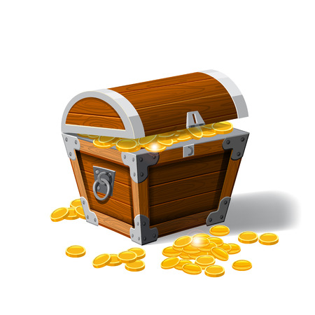 Pirate trunks chests with gold coins treasures. . Vector illustration. Cartoon style Vetores