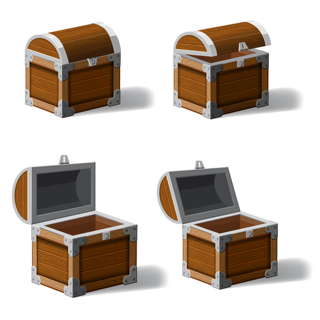 Set opened and closed antique treasure chest, set icons, game and UI elements, vector, isolated, cartoon style